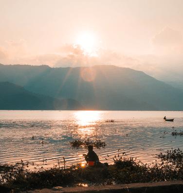 Sunrise from Phewa Lake, Pokhara